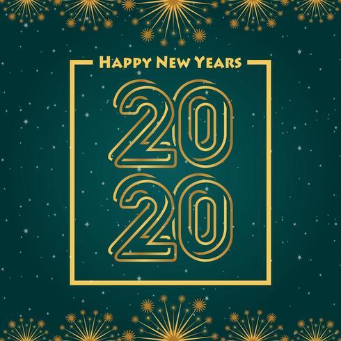 Happy new year 2020 green gradation background vector
