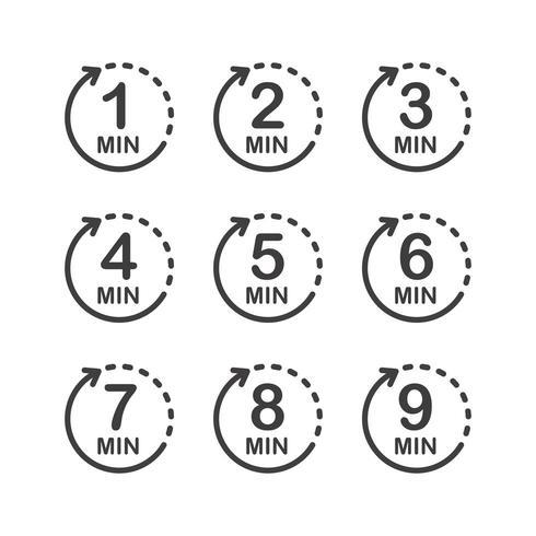 Minuten-Icon-Set. Symbol für Produktetiketten.