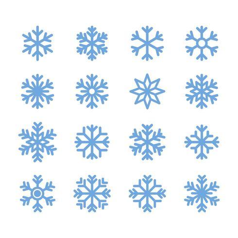 Icono de copo de nieve simple en el diseño de estilo de línea sobre fondo blanco.
