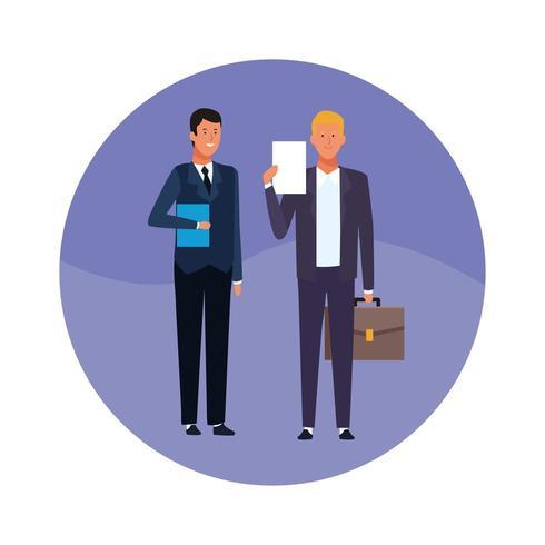 homens de negócios com documento, pasta e maleta vetor