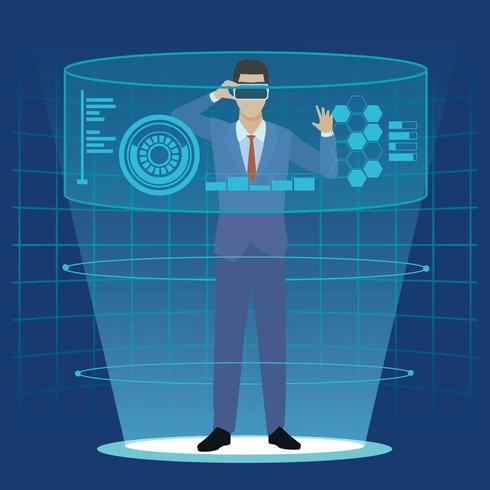 uomo d'affari con gli occhiali di realtà virtuale