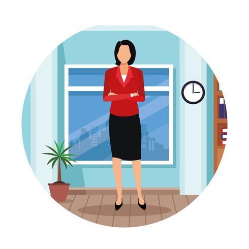 Executivfrau in der Bürokarikatur