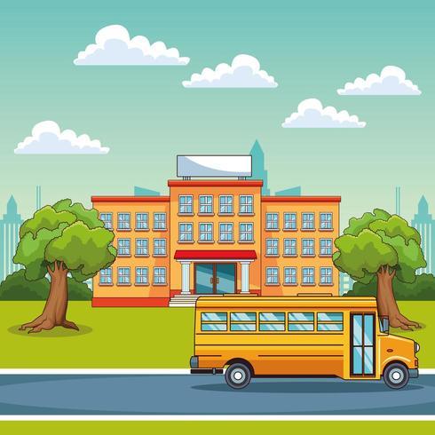 Edificio escolar y autobús escolar al aire libre vector