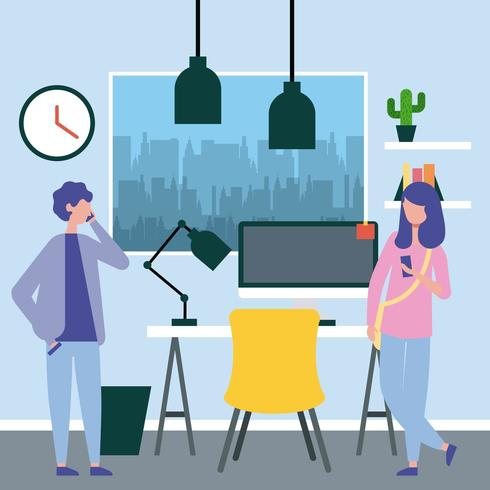 business people workspace vector