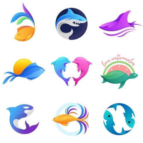 Leben im Aquariumlogo-Vektorsatz