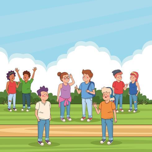 Tonåringar vänner i parken tecknade filmer