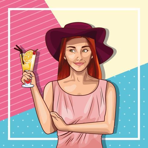 Tragender Hut der Pop-Arten-Frau und Holdinggetränk