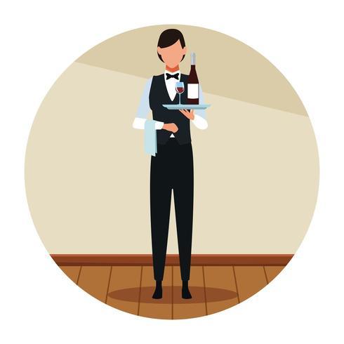 Restaurante mujer camarero avatar vector