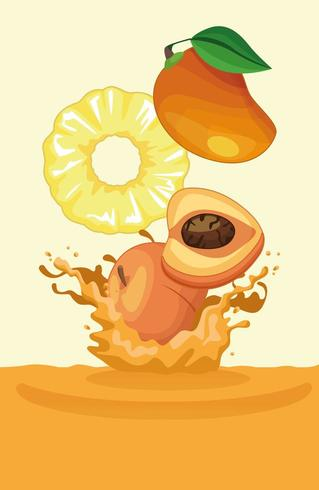 mango pineapple and peach falling for smoothie vector