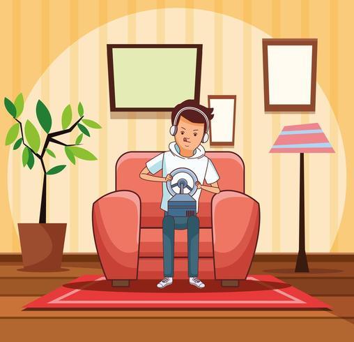 Tiener met het beeldverhaal van het stuurvideospelletje