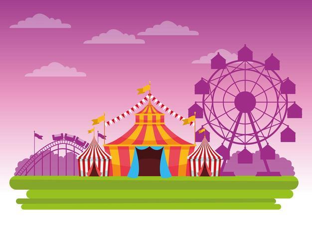 Angemessenes Festival des Zirkusses vor rosa Himmelslandschaftskarikatur
