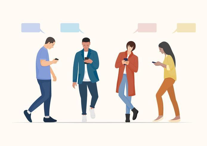 Uppsättning av människor som använder smartphonen.