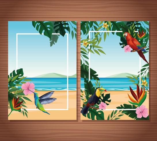 Leere Sommerkarte mit exotischen Vögeln und tropischen Blättern mit Blumen