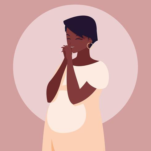 Pregnant African American woman  vector