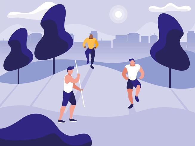 Hombres jóvenes haciendo ejercicio en el parque vector