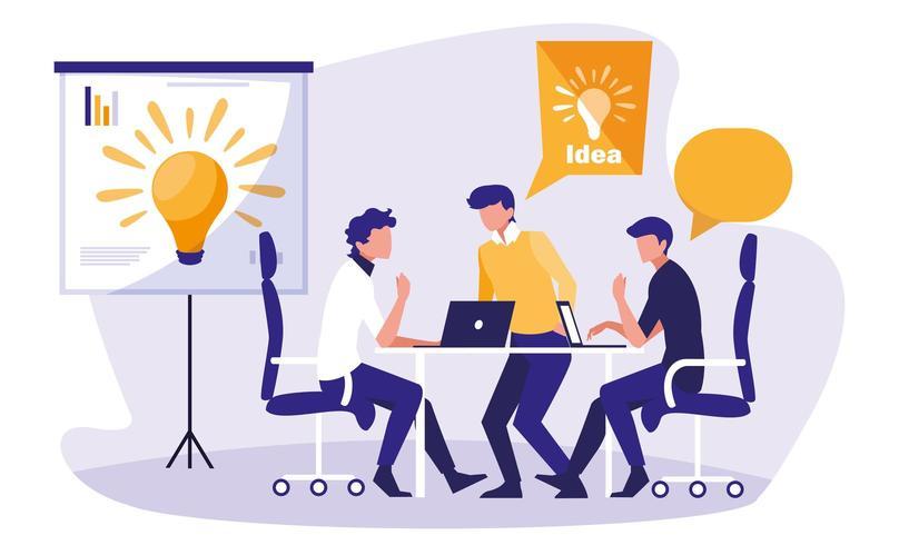 Businessmen brainstorming in the workplace vector
