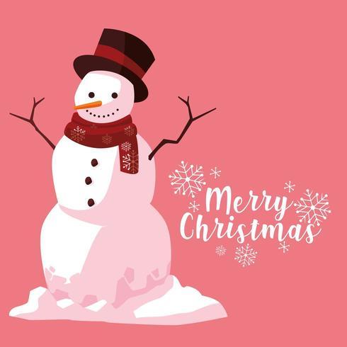 Voeux bonhomme de neige de Noël vecteur