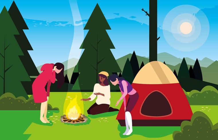 campeggiatori in zona campeggio con tenda e paesaggio giorno falò vettore