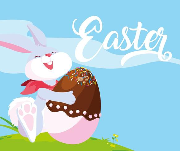 Easter rabbit greeting  vector