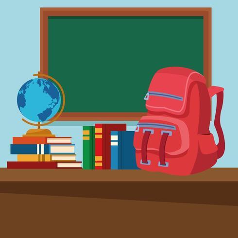 Aula escolar con escritorio y pizarra