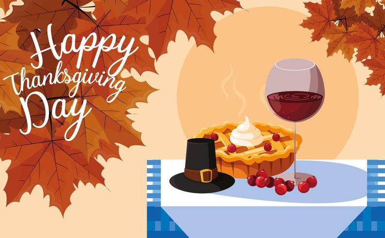 pilgrim hat with pie and cup wine in table vector