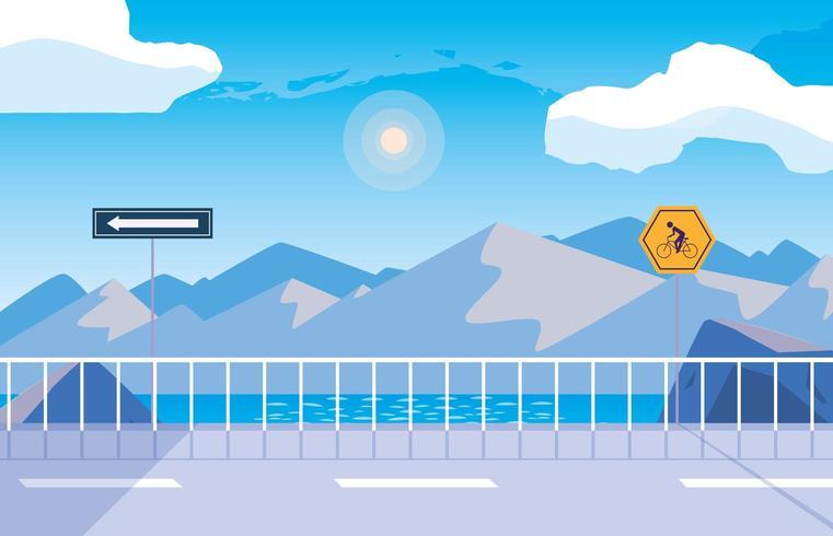 Escena de la naturaleza del paisaje nevado con señalización para ciclista vector
