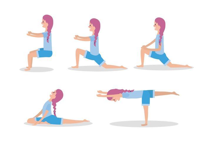 Establecer mujer practicar yoga ejercicio pose vector