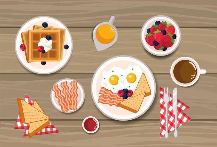 gofres con huevos fritos y pan rebanado vector