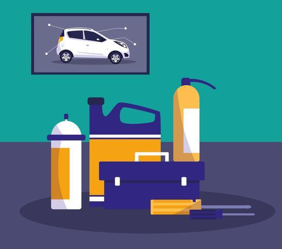 iconos de equipos de taller de mantenimiento vector