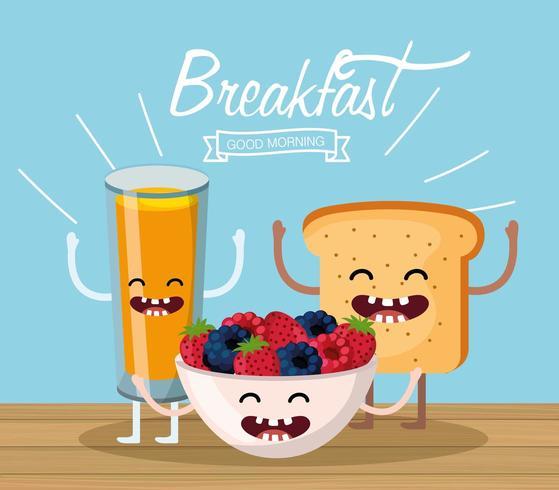 glücklicher Orangensaft mit Früchten und geschnittenem Brot