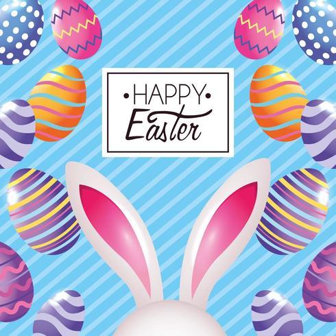 Feliz Pascua conejo de Pascua con decoración de huevos y emblema vector