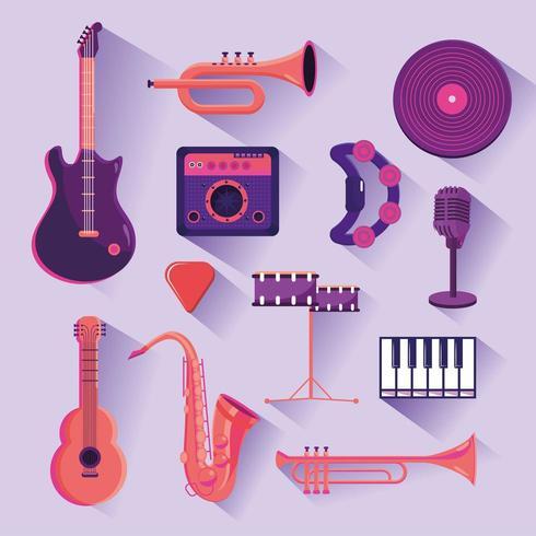 set professional instruments to music festival celebration vector