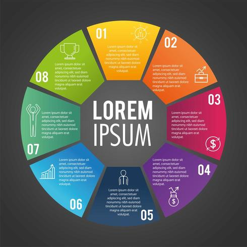 Circular infographic business report with text vector