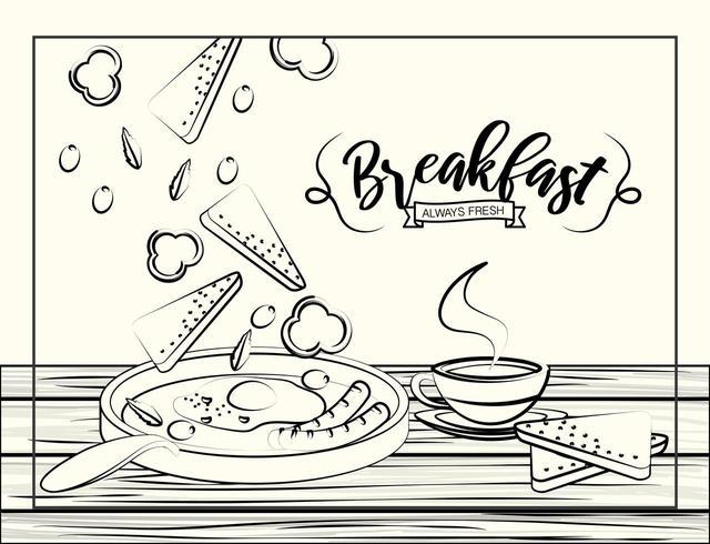 Esboço estilo café da manhã pôster