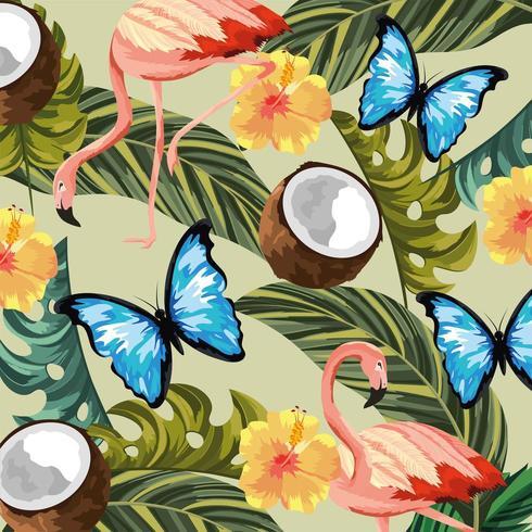 Patrón de mariposas con flamencos y flores vector