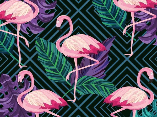 Exotic flamingos animals and leaves retro background