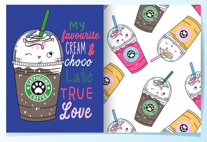Hand drawn cute drinks with pattern set