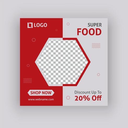 Diseño de plantilla de publicación de redes sociales de Super food