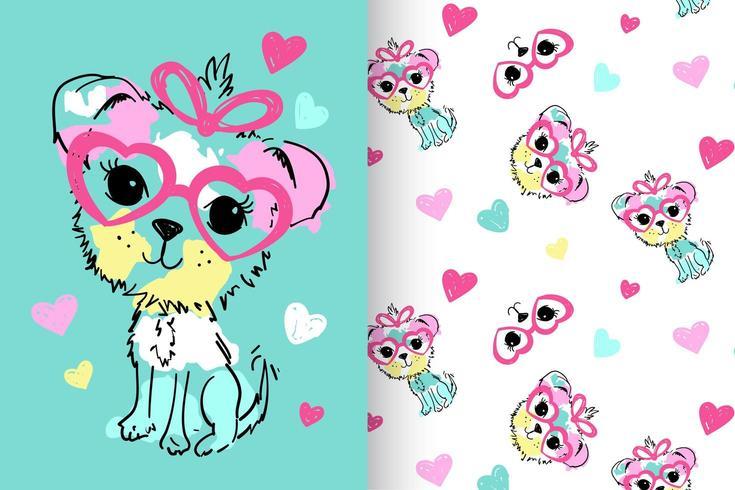 Cane carino disegnato a mano con set di pattern