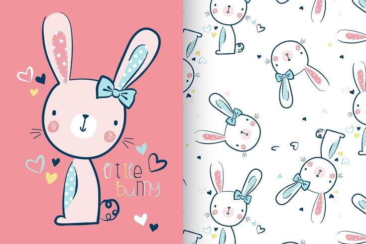 Hand drawn cute bunny with pattern set vector
