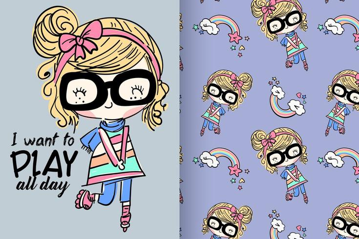 Hand drawn cute girl with pattern set