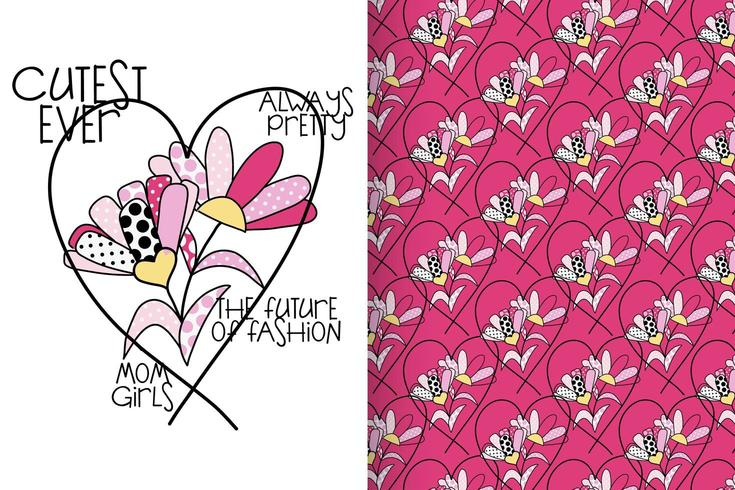 Hand drawn flower with pattern set vector