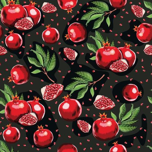 Abstract bright colorful pomegranate seamless pattern.  vector