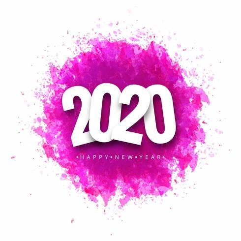 Disegno della cartolina d'auguri di felice anno nuovo 2020
