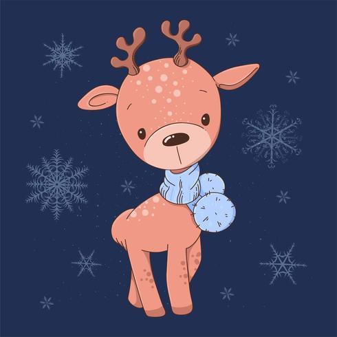 Ciervo con bufanda y copos de nieve. vector
