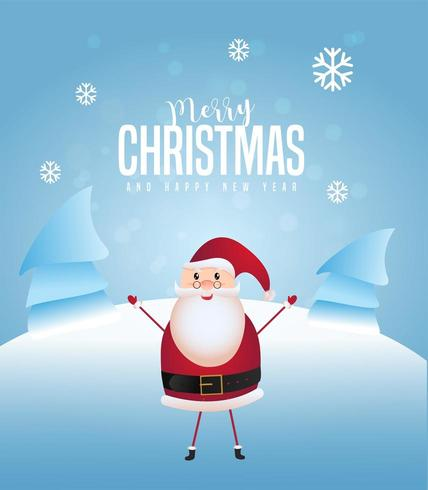 Merry Christmas and Happy New Year greeting card design with santa claus vector