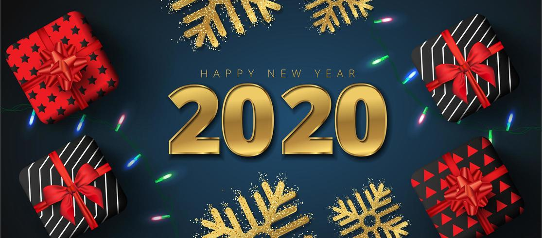 Lettrage du nouvel an 2020, coffrets cadeaux, flocons de neige et guirlandes lumineuses étincelantes vecteur