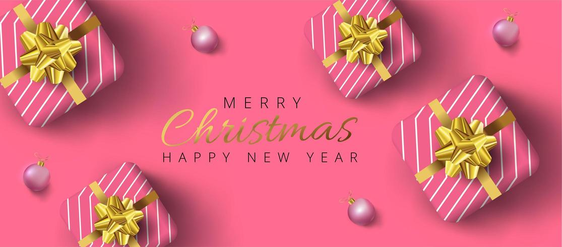 Banner de Navidad con adornos de oro, cajas de regalo realistas rosas y fondo