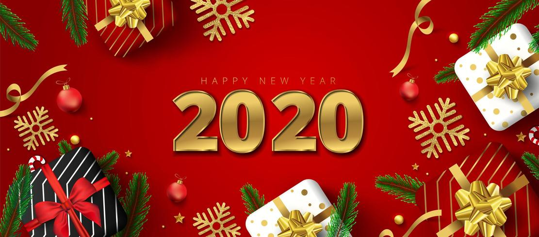 2020 lettering with Gift boxes, gold snowflakes, baubles, stars and pine leaves vector
