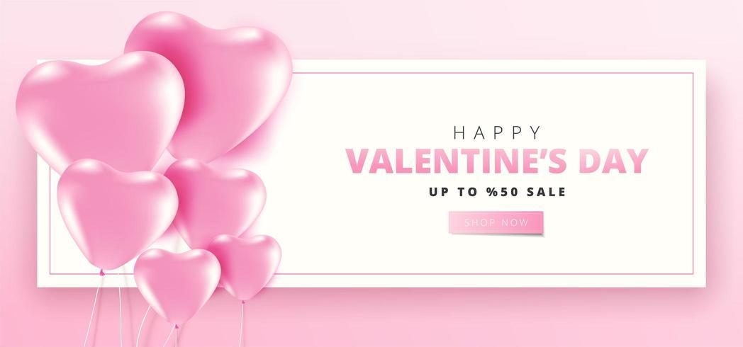 Glad Alla hjärtans dag försäljning banner vektor
